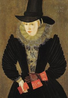 Circa 1596, Joan, the first  wife of Edward Alleyn-Fine example of late Elizabethan style.