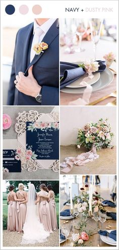 9 Beautiful Blush & Soft Pink Wedding Colors for Brides to Try navy and light dusty pink classic wed Navy Wedding Colors, Blue And Blush Wedding, Dusty Pink Weddings, Popular Wedding Colors, Pink Wedding Theme, Blush Wedding Flowers, Dusty Rose Wedding, Wedding Themes, Blush Pink