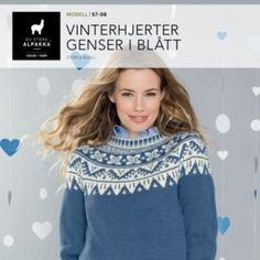 Vinterhjerter jakke i blått – Du Store Alpakka Knitting, Jumpers, Sweaters, Jackets, Fashion, Catalog, Threading, Down Jackets, Moda