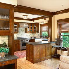 Greene & Greene Inspired Kitchen - Custom Craftsman Millwork by El Dorado Woodworks - Maxey Residence