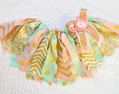 Pink Mint and Gold Fabric tutu outfit First by ChelseaRoseBaby