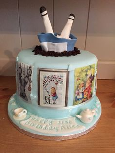 Alice in Wonderland cake with Alice falling down the hole x