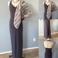 Chic  cocktail dress Chic long gray dress perfect fit r any event  fabric has a good 3inch stretch to it, please see measurements because not all sizes are the same                                                                      ✅bundle ✅ all reasonable offers will be considered  ✅ No Trading  Poshmark rules only‼️  Measurements taken laying flat      Ⓜ️Under bust 15+ Stretch 18                Ⓜ️Length from under bust 46 1/2            Ⓜ️sexy leg opening 26 Boutique  Dresses Maxi