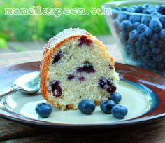 Manila Spoon: Blueberry Sour Cream Cake.  I added rind of one lemon, 1 tsp lemon extract and juice of half a lemon.  Very very good and an easy cake to make.