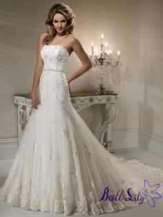 White A-Line Gown Strapless Beaded Tulle Wedding Dress WDAL231  $279.00 (USD)   www.balllily.com by tracey
