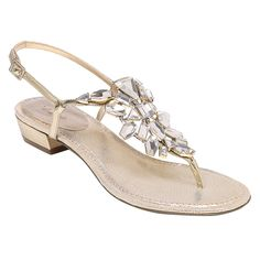 Crystal T-strap sandal by Nina Bridal