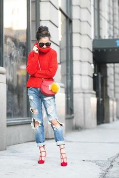 Friday Boyfriend :: Red sweater & Distressed jeans