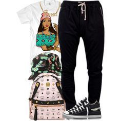 A fashion look from July 2014 featuring DRKSHDW activewear pants, Converse sneakers and MCM backpacks. Browse and shop related looks.