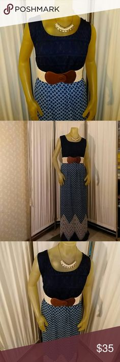 NWT Maurice's beautiful boho plus size maxi dress NWT Maurice's maxi dress. Navy lace top, cream crochet belt, and navy and cream patterned chiffon skirt. Dress is lined to mid thigh. Pop over style. Maurice's plus size 4, or 26/28W. Perfect boho look for summer or throw on a jean jacket for fall. Maurice's Dresses Maxi
