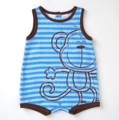 Infant Striped Monkey Romper