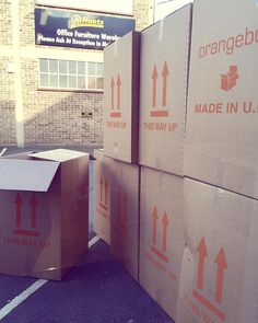 @orangeboxltd boxes are taking over our entrance. Lots of exciting new furniture going into our showroom today! #officefurniture #orangebox