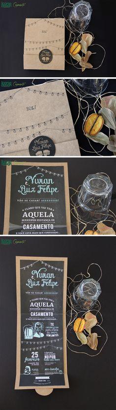 Convite de Casamento Moderno da coleção Madrid da Ícone Design, produzido em papeis especiais, com laminação. Design descontraído, contemporâneo e inovador, e que tem tudo pra ser um sucesso entre seus convidados!