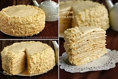 "Cake ""Napoleon"" with a delicious cream (including cookbook) - . Russian Cakes, Russian Desserts, Russian Recipes, Sweets Recipes, Just Desserts, Cake Recipes, Napoleon Cake, Italian Cream Cakes, Easy Cake Decorating"