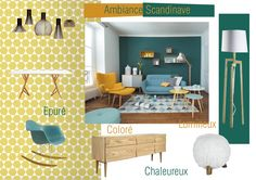 Planche Ambiance style Scandinave Modern Kids, Mid-century Modern, Deco Kids, Style Deco, Piece A Vivre, Concept Board, Color Trends, Decoration, Sweet Home