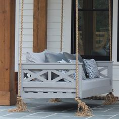 44 Amazing Rustic Porch Swing Design Ideas - Porch swings are a fabulous edition to any home and any porch. Porch swings are a wonderful way to kick back and relax at any time, especially after a. Garden Swing Seat, Patio Swing, Front Porch Swings, Porch Bed Swing Plans, Garden Seats, Farmhouse Porch Swings, Diy Porch, Porch Ideas, Backyard Ideas