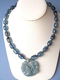 Deep Blue Jade necklace #dragon (success) #bat (happiness) #gourd (long life). Visit http://www.carolbarrettjewelry.com/gemc3628.php#