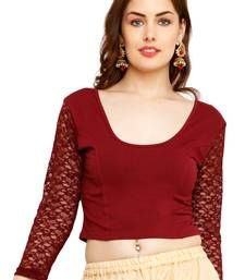 b4d2bf0748a63 Buy Maroon Cotton Lycra Solid stitched blouse readymade-blouse online  Readymade Blouses Online
