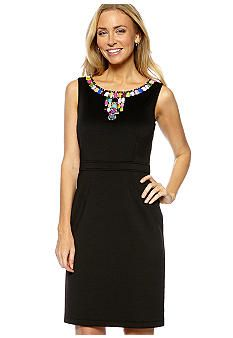 Ellen Tracy Dresses Sleeveless Sheath Dress with Beaded Neckline