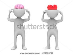 3d men with heart and brain