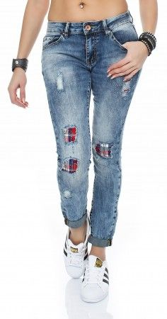SKUTARI Luxuriöse Damen Destroyed Krempel Jeans Stretch Baggy Loose Fit Damen Jeans Hose Boyfriend Baggy
