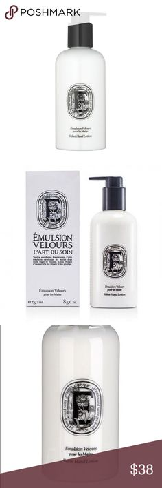 DIPTYQUE Velvet Hand Lotion 8.5oz 🌊 A velvety hand lotion with everlasting floral water to regenerate the skin, combat free radicals and repair and protect skin and Roman chamomile floral water to soothe and soften. The everlasting flower, a symbol of eternity and prosperity, became vital in Corinth (Greece) to the point that the streets and window ledges were strewn with the blossom as a sign of celebration. Skin is left moisturized, softened and fragranced with notes of sweet almond…