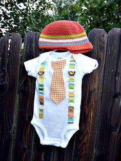 Get the Set and Save--Baby Beanie and Tie/Suspender Onesie Set- Orange and Lime, White, Blue Stripes