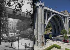 Viaducto sobre la calle de Segovia - Madrid, España. Brooklyn Bridge, Travel, Photo Caption, Past Tense, Street, Recipes, Viajes, Trips, Tourism