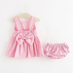Adorable Striped Bow Decor Sleeveless Dress and Pantie Set for Baby Girl