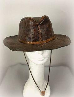 ViNtAgE Structured Leather Embossed Distressed Hat Folk Fest