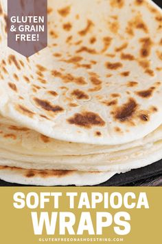 These easy, cheesy grain free soft tapioca wraps are made with simple gluten free pantry ingredients—plus they stay flexible even when they're cold and freeze beautifully. Best Gluten Free Recipes, Gf Recipes, Gluten Free Cooking, Cooking Recipes, Disney Recipes, Disney Food, Bread Recipes, Cooking Tips, Easy Recipes