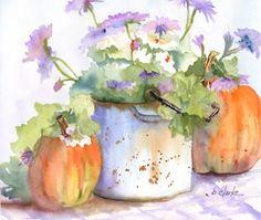watercolor painting of pumpkins