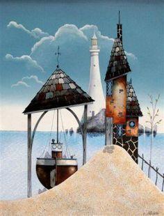 Gary WALTON artist, paintings and art at the Red Rag Modern Art Gallery Dream Pictures, House Drawing, Art For Art Sake, Naive Art, Aboriginal Art, Fairy Houses, Art Plastique, Contemporary Art, Modern Art