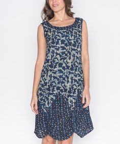 Loving this Blue & Gray Leaf Pick-Up Dress on #zulily! #zulilyfinds