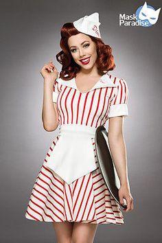 American Diner Girl Waiter Waitress Maid 50s Retro Costume Fancy Dress New XS-XL