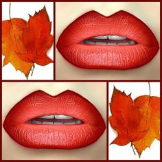 Fall ombre ~ MAC: lined in Chestnut, Enriched Red, & Auburn with So Chaud & Salute (LE) + Wet n Wild 24 Carrot Gold Lipstick