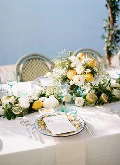 Wedding Dinner, Italy Wedding, Wedding Tables, India Wedding, Italian Bridal Showers, Lemon Centerpieces, Mediterranean Home Decor, Martha Stewart Weddings, Watercolor Invitations