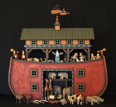 2 x 2 - Hand Carved Wooden Noah's Ark from Maurice & Kelly Dallas- GoodBook Folk Art Antique Toys, Vintage Toys, Noahs Arc, Country Living Fair, Creative Textiles, Arte Popular, Old Toys, Wood Carving, Wood Art