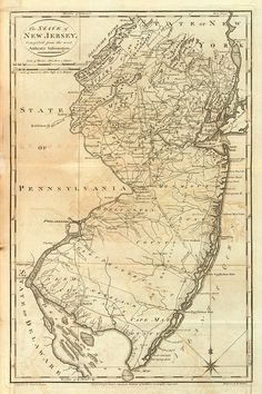 Vintage 1795 Map of New Jersey by AtomicPhoto on Etsy, $50.00