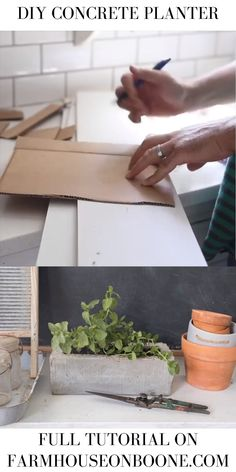 DIY Concrete Planter - Farmhouse on Boone Diy Concrete Planters, Wooden Garden Planters, Diy Planter Box, Concrete Crafts, Concrete Garden, Concrete Projects, Diy Planters, Birdcage Planter, Bamboo Planter