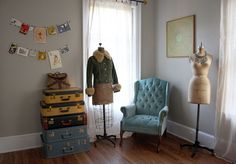 dressforms! vintage luggage!! beautiful chair!!!