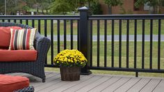 """Along with durability, """"color"""" is probably one of your key considerations when it comes to selecting deck railing. If so, we have great news. Symmetry™ Railing, Fiberon's new stro… Aluminum Porch Railing, Metal Deck Railing, Black Railing, Front Porch Railings, Patio Railing, Aluminum Decking, Front Deck, Porch Railing Designs, Railing Ideas"""