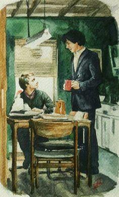 "sherlock is gay and johnlock is real "" domestic, another screencap that I love. I adore John, can you tell? Sherlock Holmes Bbc, Sherlock Fandom, Watson Sherlock, Sherlock John, Sherlock Fan Art, Jim Moriarty, Sherlock Quotes, 221b Baker Street, Martin Freeman"