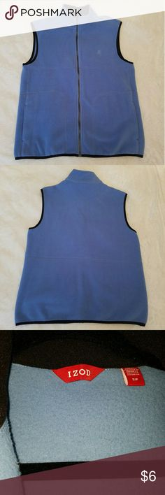 IZOD Fleece Men's Zippered Vest - Size S IZOD Fleece Men's Zippered Vest with (2) front pockets.  Size - Small, but wears well as a small/medium.  Color - Light Blue  100% Polyester   In great / excellent condition. No major signs of wear, no stains, no rips. Izod Jackets & Coats Vests