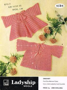 Ladyship 4584 baby crochet matinee coat vintage by Ellisadine, £1.00
