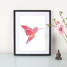 Hey, I found this really awesome Etsy listing at https://www.etsy.com/listing/234899676/artprint-origami-hummingbird-pink