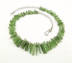 Green Kyanite & Sterling Silver Necklace  N729 by TheSilverBear, $115.00