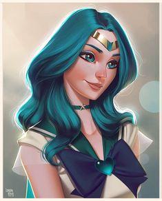 And here's Sailor Neptune. Almost finishing this series, thank god! #sailormoon #sailorscout #michirukaioh #illustration #digitalart #digitalpainting #characterdesign