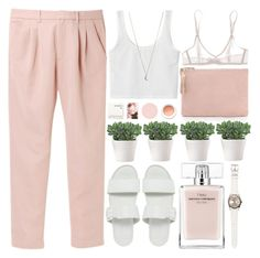 tickeled pink by evangeline-lily on Polyvore featuring polyvore, fashion, style, Uniqlo, Bodas, Vagabond, Clare V., Rolex, Minor Obsessions, Narciso Rodriguez, Korres, women's clothing, women's fashion, women, female, woman, misses, juniors, ASOS, pastels and simpleset