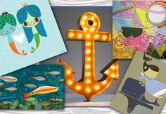 Not your typical ocean themed artwork and accessories for kids rooms