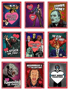 Horror Film Valentine Cards